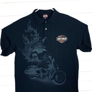Harley-Davidson Mens Motorcycle Skull Graphic Polo